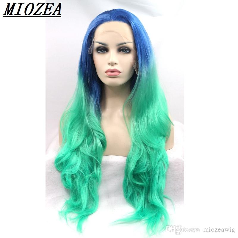 hair 26inch Two Tone blue ombre green long wavy wigs synthetic lace front wig heat resistant free shipping