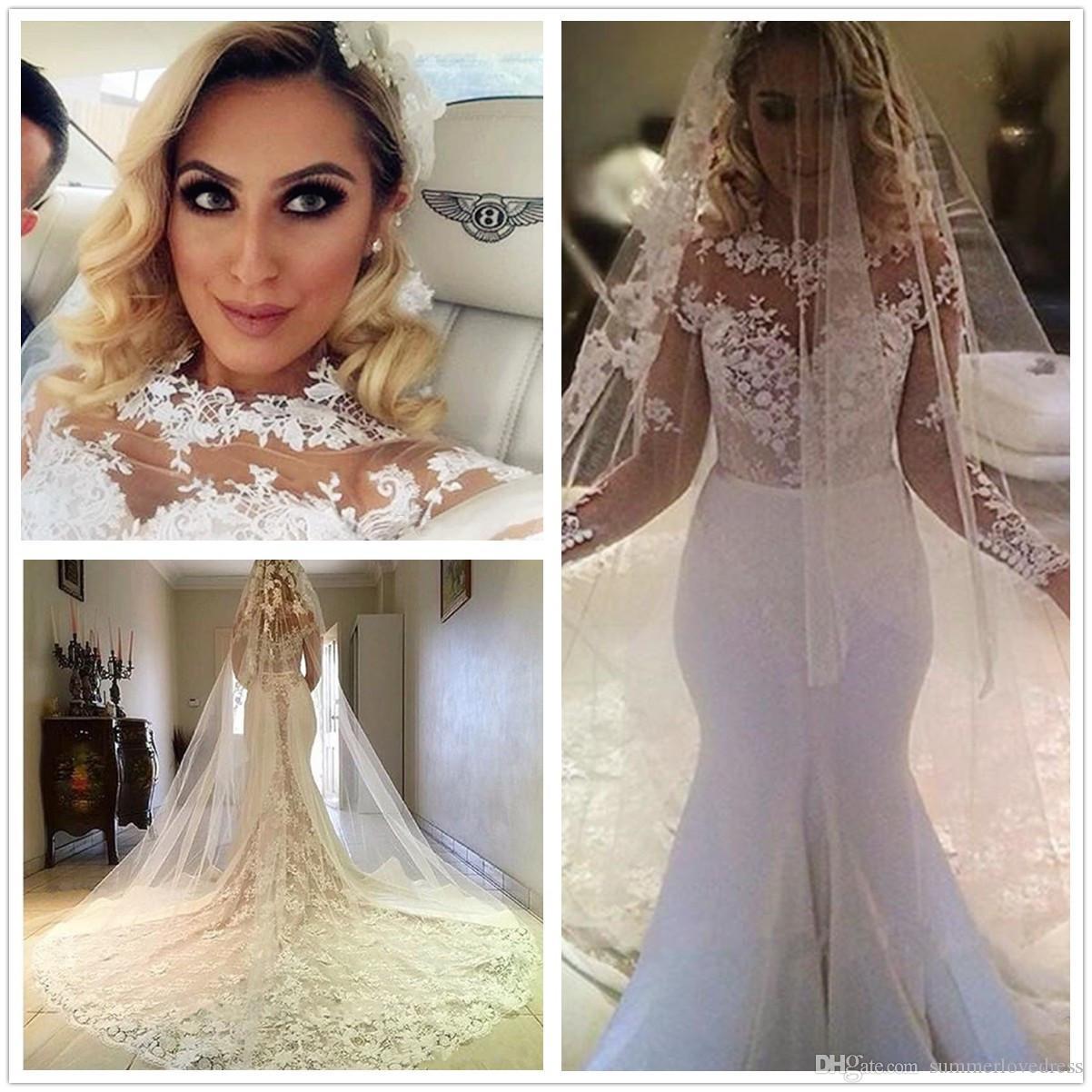New Design vestidos de novia A line Sheer Neckline