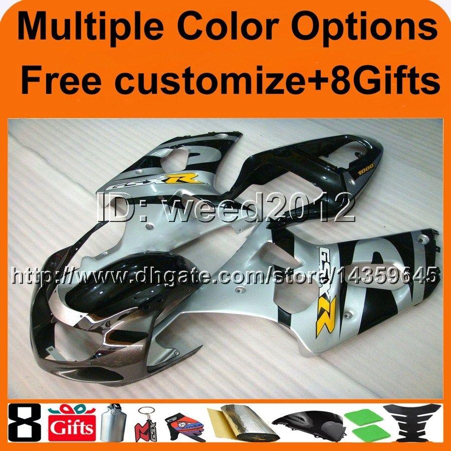 23 Farben + 8Geschenke SILBER GSXR1000 2000 2001 2002 Karosserie Motorrad Verkleidung für Suzuki 1000 00 02 Motorrad Verkleidungen ABS Kunststoff Kit