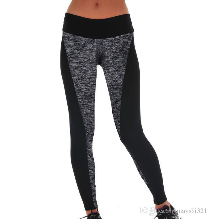 Fitness Yoga Pants Black and Gray Elastic Plus Size Yoga Leggings Gym Running Workout Trousers Sports Yoga Clothing for Women
