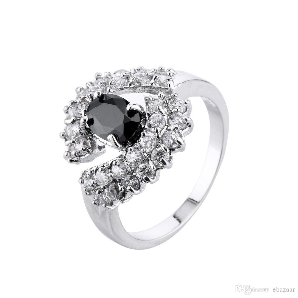 Gift Jewelry Black Diamonique Cz Gold Plated Wedding Ring Engagement Band Sz6-10