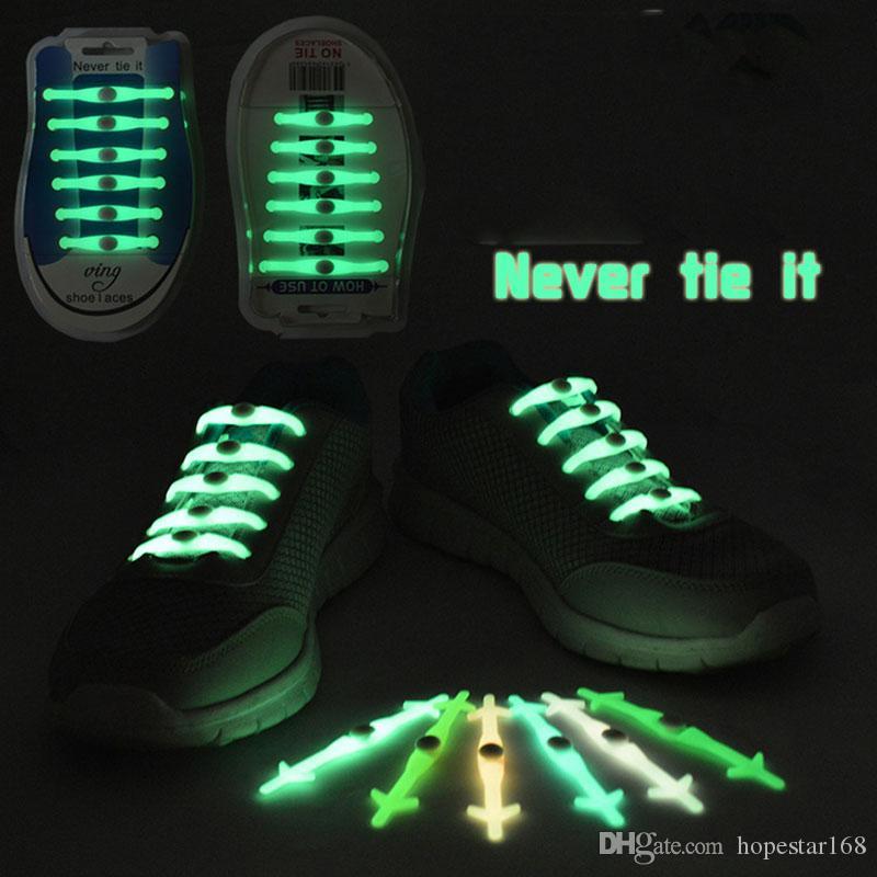12pcs set Christmas Gift No Tie Shoelaces Luminous LED Shoe Laces Disco Party Night Running Flash Light Up Glow Stick Strap Shoelaces