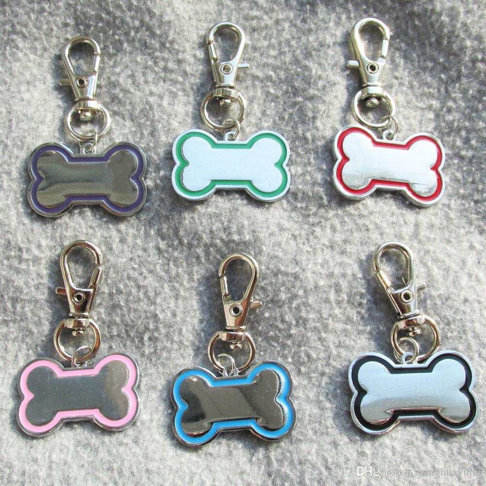 100pcs / lot de aleación de zinc de hueso animal doméstico del perro etiquetas de identificación en blanco para mascotas Etiquetas láser y el diamante Engravable