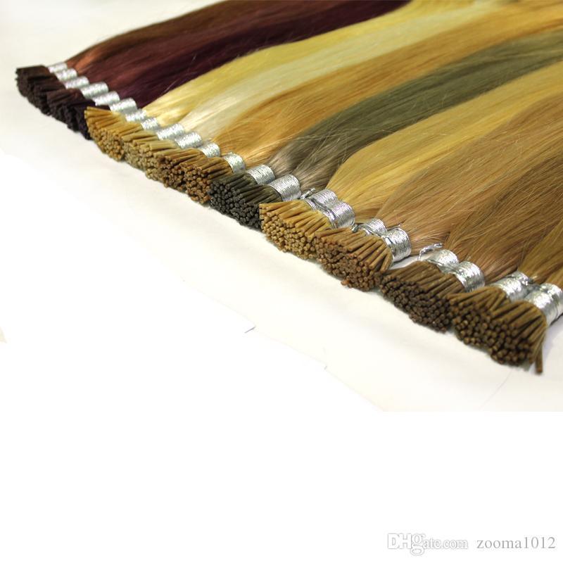 100g / paczka Prebonded Fusion Hair Extensions Proste 100strands / Pack Keratyn Stick I Wskazówka Ludzkie włosy # 1 # 1b # 2 # 4 # 8 # 27 # 613