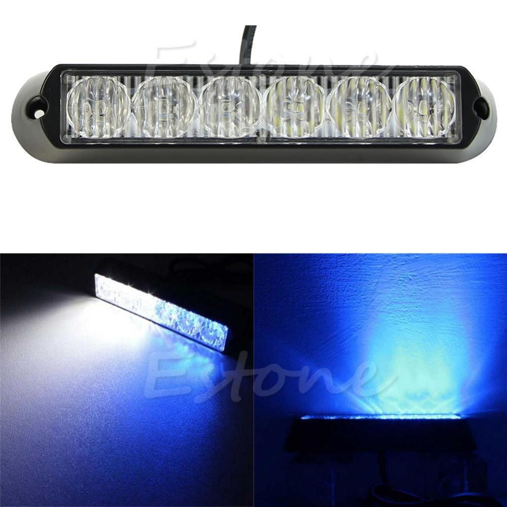 Araba Acil Işaret DRL 6 LED Lamba Tehlike Strobe Uyarı Işığı Beyaz + Mavi