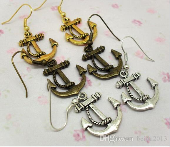 FUNKY VINTAGE ANCHOR Dangle & Chandelier EARRINGS RETRO METAL NAUTICAL SAILOR party dress jewelry gift 12pcs(6pairs)