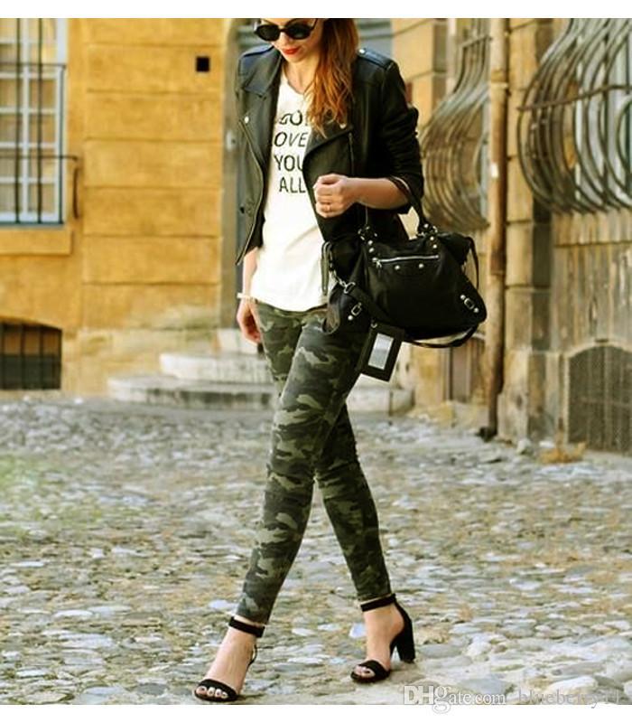 2018 Women`s Jeans S-5XL Artı boyutu Kadınlar Femme Kamuflaj Kırpılmış Kalem Pantolonlar için Şık Kamuflaj Yeşil Ordu Skinny Jeans