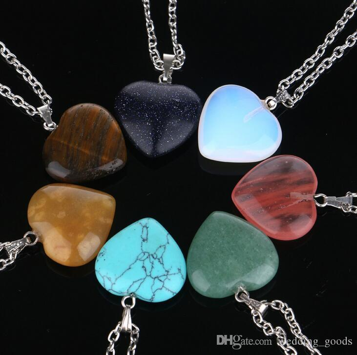 Hot sale Hot new turquoise stone pendants turquoise crystal peach heart natural stone necklace WFN003 (with chain) mix order 20 pieces a lot