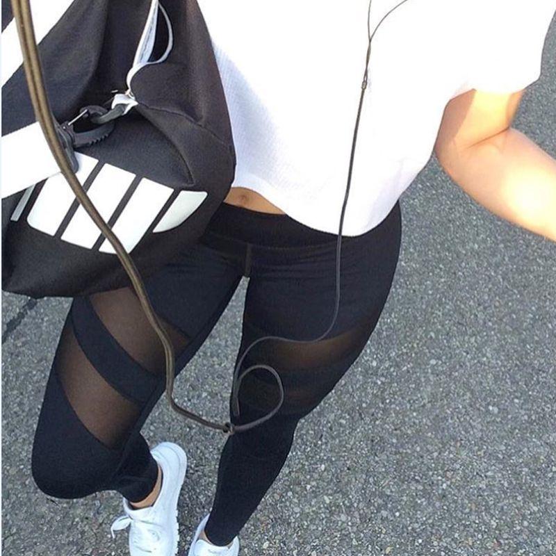 Yeni kadın eğitim seksi spor pantolon sıkı, Avrupa ve Amerika büyük metre hız kuru kadın giyim hollow perspektif yoga hareketleri, Legging