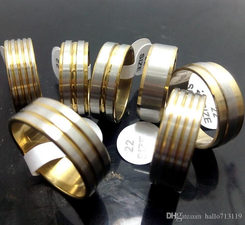 Wholesale lotes 100 pcs mix de ouro homens de aço inoxidável anéis de banda moda jewerly bom para revenda