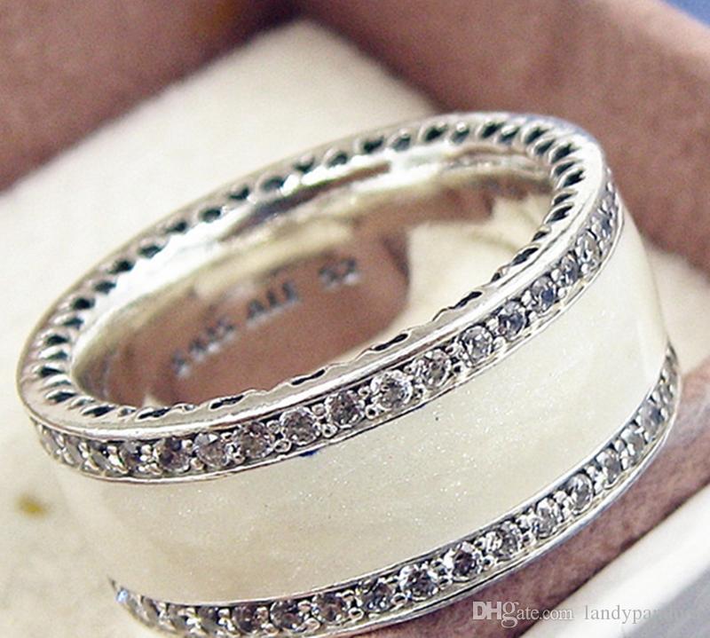 2017 neue 100% 925 Sterling Silber Europäischen Pandora Schmuck Herzen Ring mit Weißen Emaille und Cz Fashion Charm Ring