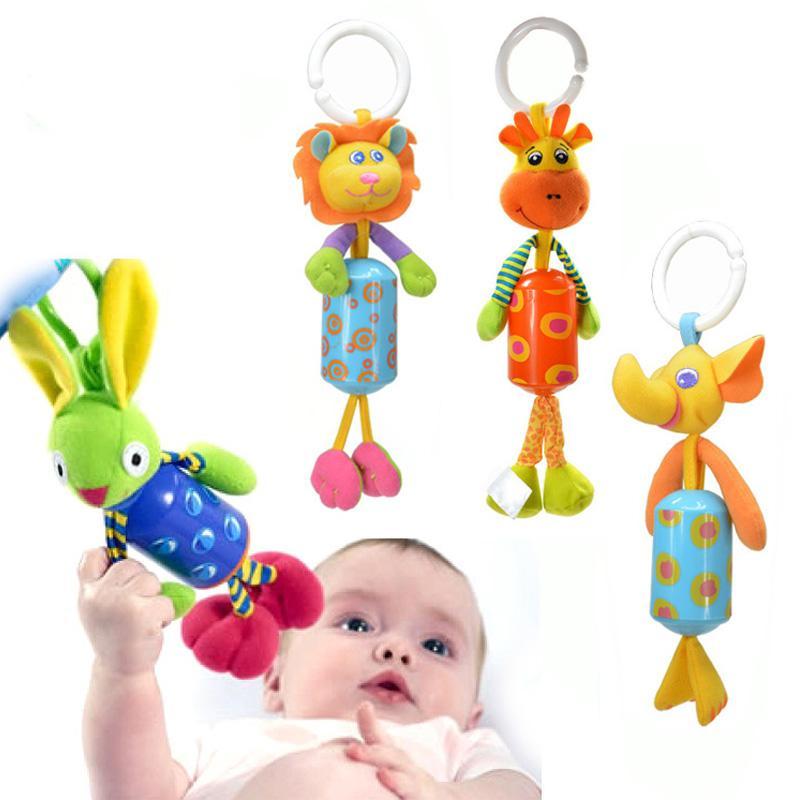 Baby Crib Stroller Rattle Toy Plush Lion Rabbit Deer Elephant Newborn Baby Hanging Rattle Ring Bell Soft Playpen Bed Pram