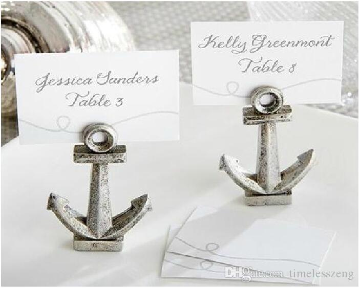 Ancient Silver Resin Seat Clips Anchor Place Card Photo Holder 6.2 * 4.5 * 1.2cm Wedding Decoration Favors
