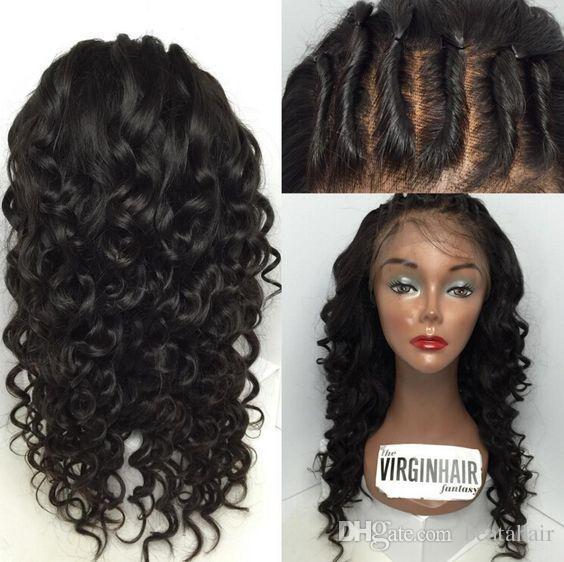 Vague D'eau Pleine Dentelle Perruques Avant de Lacet Perruques Bébé Cheveux 100% Brésilienne Non Transformée Perruque de Cheveux Humains Vierge Pour Les Femmes Noires