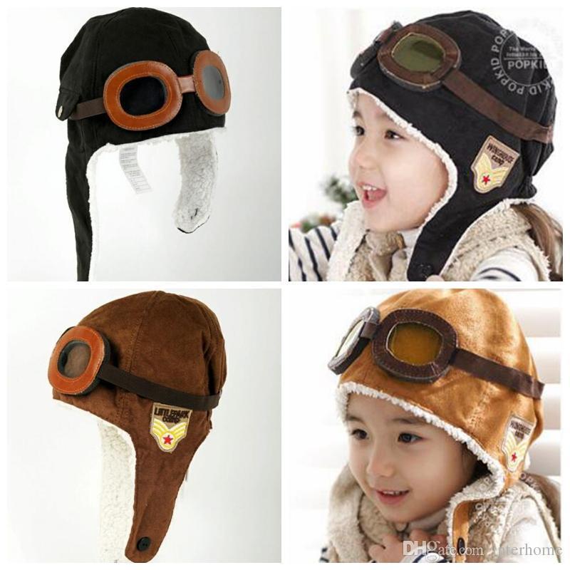 Baby Pilot Aviator Cap Pilot Earflap Caps Airforce Beanie Windproof Warm Hats Earflap Beanie Girls Pilot Flight Earflap Plush Beanie D18