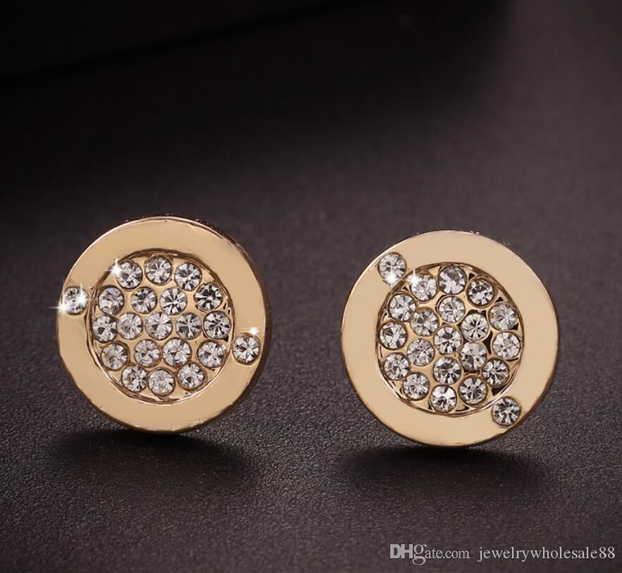 Europe Style Fashion Circular Earrings Rhinestone Crystal High Quality Ear Stud for Women Jewelry