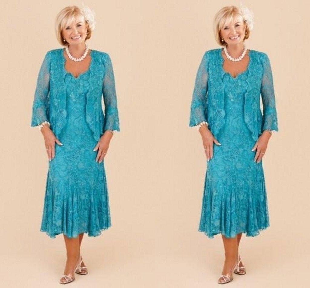 Gelinlikleri Of Ceket Plus Size Anne ile 2020 Kılıf Turkuaz Anne Kapalı Gelin Elbise V Yaka Dantel Uzun Kollu Çay Boyu