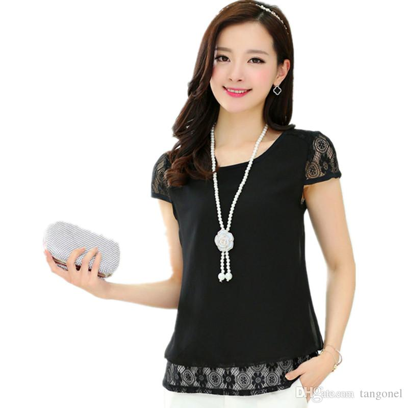 المرأة أعلى الشيفون الدانتيل بلوزة قصيرة الأكمام س الرقبة blusas الأنثوية فضفاض أبيض أسود الدانتيل قميص المرأة الجوف خارج زائد حجم xxl