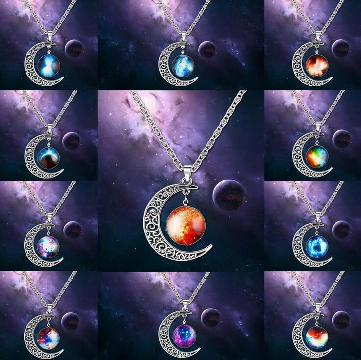 Бесплатная доставка Лунная галактика луна взрыв ожерелье раздел WFN209 (с цепочкой) заказ смешивания 20 штук много