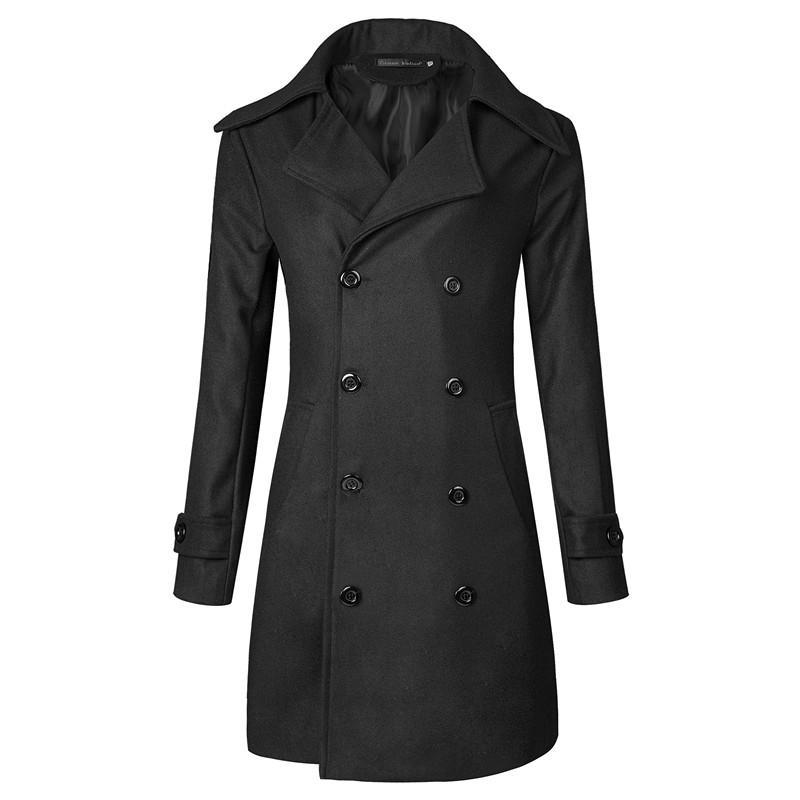 Al por mayor- MarKyi 2017 moda doble pecho largo gabardina hombres invierno manga larga sobretudo masculino para hombre abrigo tamaño 3xl