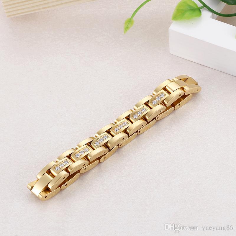 KB79420-K 20 cm (8,05 pollici) 12mm acciaio inossidabile di alta qualità di alta qualità zircone cristalli catena a maglia braccialetto oro donne regali di compleanno
