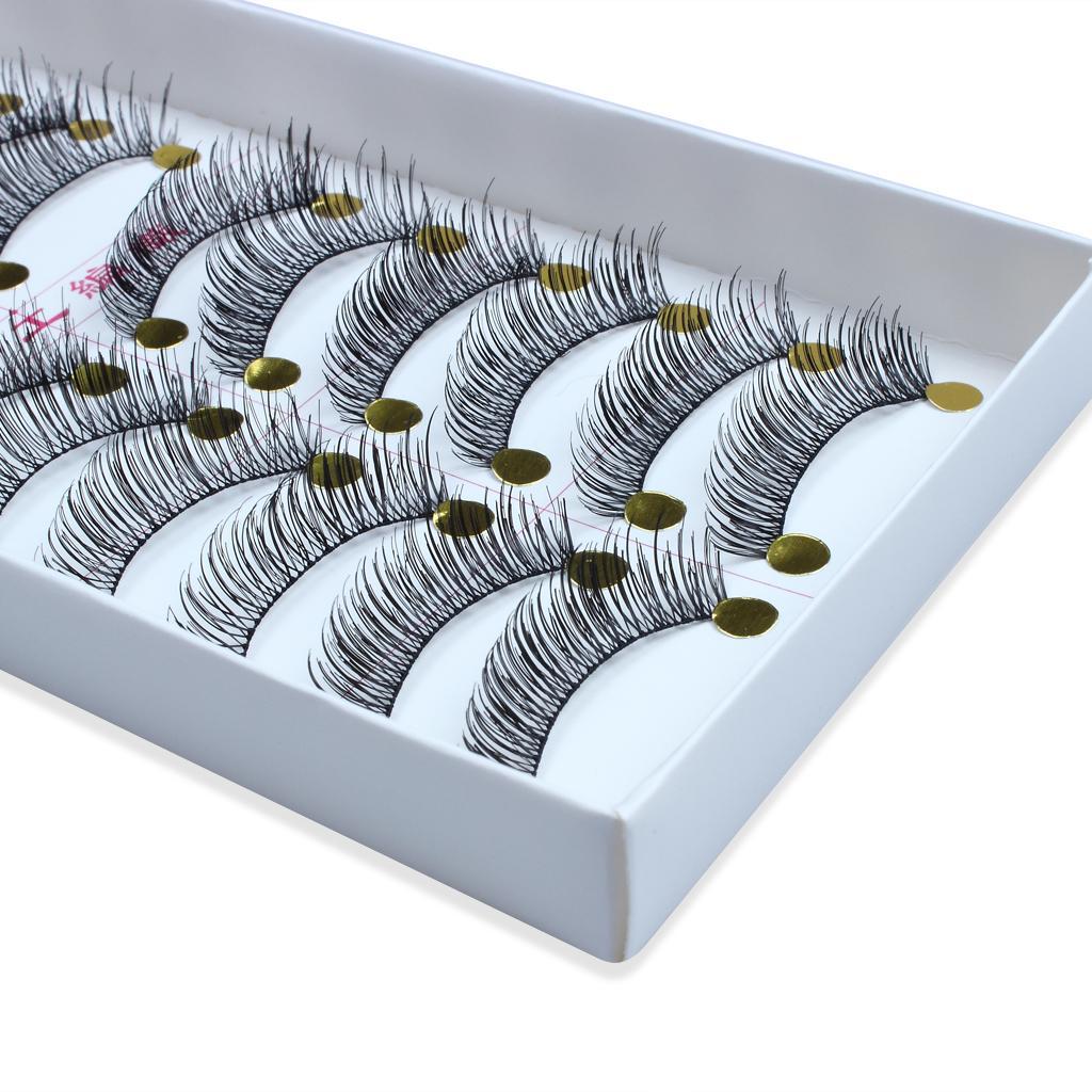 10pairs 새로운 여성의 메이크업 자연 긴 두꺼운 검은 거짓 속눈썹 파티 및 일상적인 사용을위한 매력적인 눈 속눈썹