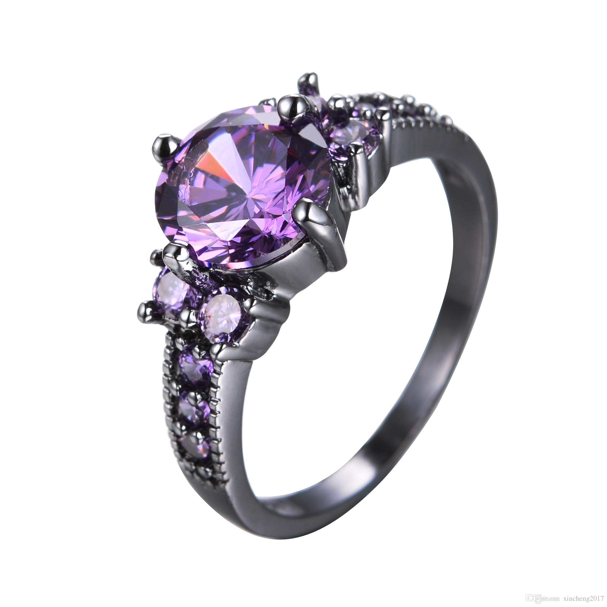 Women Amethyst Ring Fashion Vintage Crystal Wedding Engagement Jewelry Gift