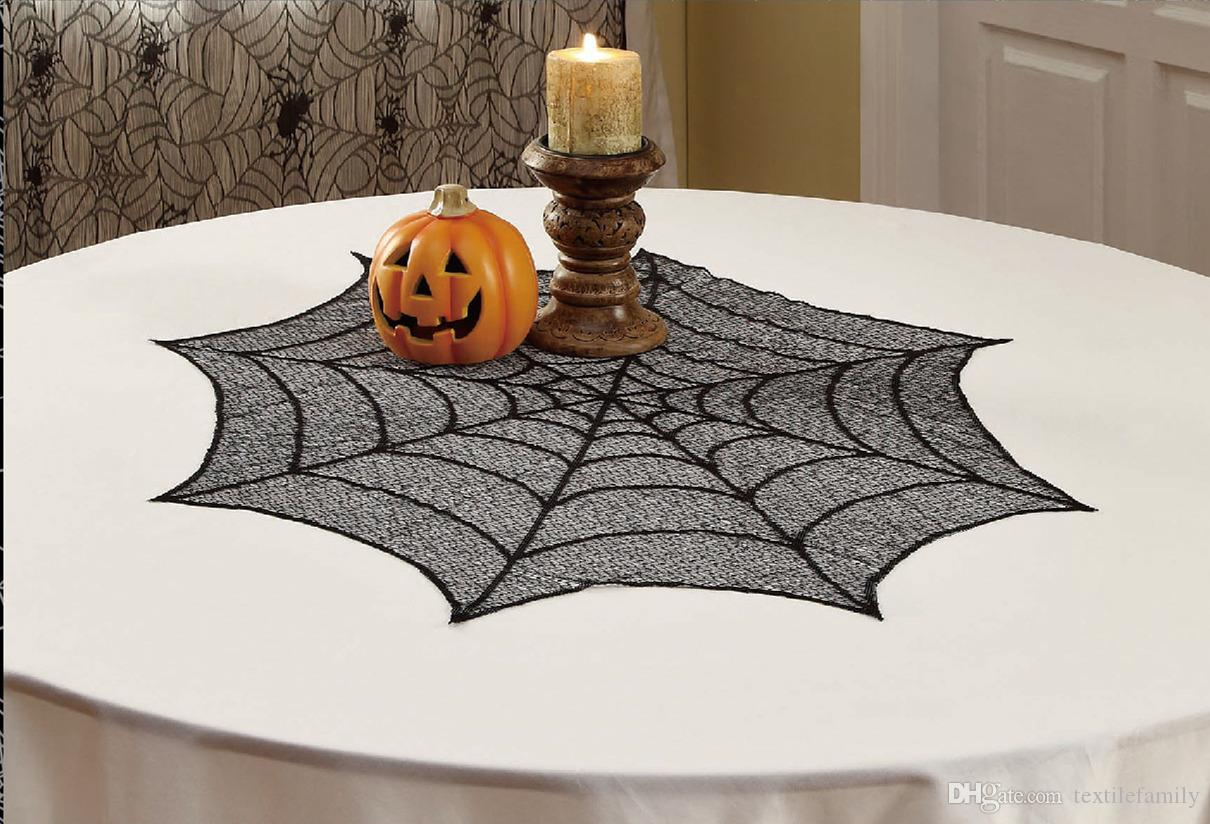 Halloween tablecloth - Halloween Decoration Black Lace Tablecloth Spider Web Round 30inch Lace Table Cover Happy Halloween