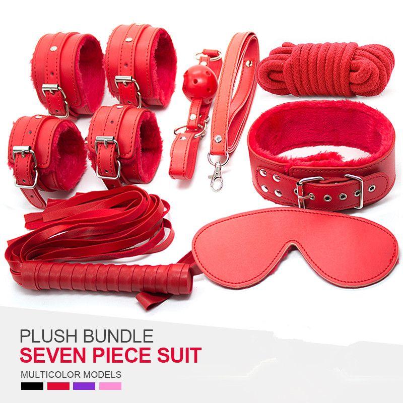 2016 Sex bandage Leather bdsm adult sex game 6pcs Handcuffs face bandage Headgear Restraint Sex Toys for Couples