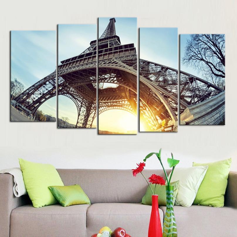 Eyfel Kulesi Şafak Çerçevesiz Resim Sergisi Printd on Canvas Wall Art HD Baskı Resim Resim