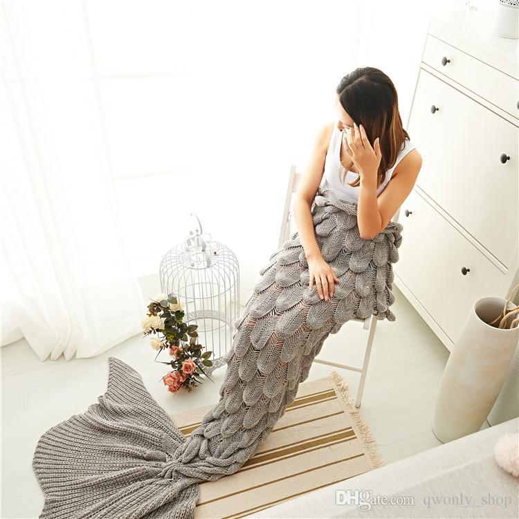 7 Color Mermaid Tail Blanket Yarn Knitted Handmade Crochet Mermaid Blanket Kids Throw Bed Wrap Super Soft Sleeping Bed
