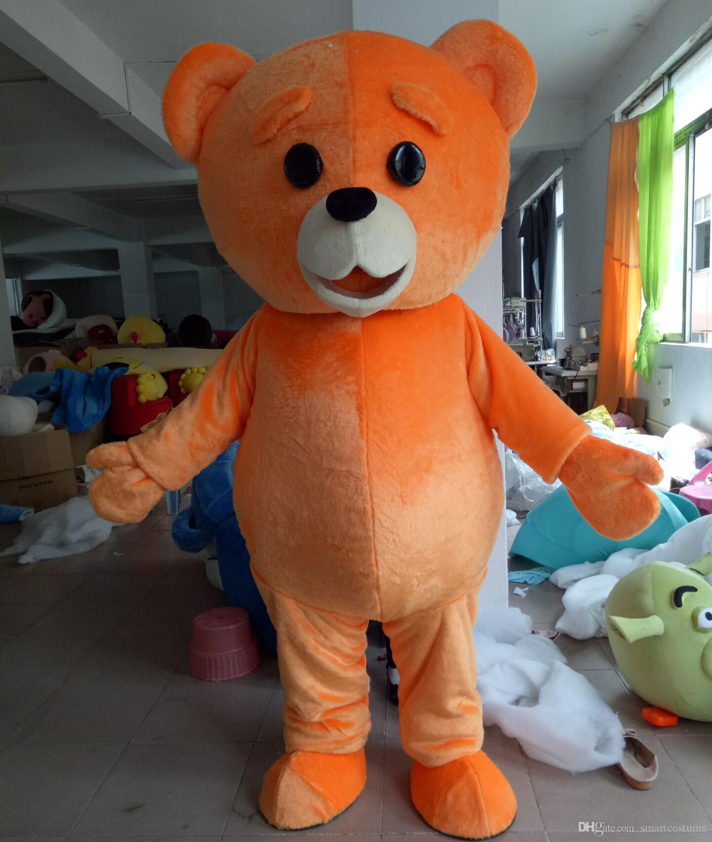 WR210 Бесплатная доставка легкий и удобный для взрослых оранжевый цвет плюшевого мишки талисман костюм для взрослых носить
