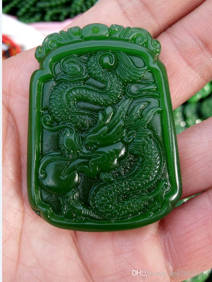 CHINESE OLD HANDWORK CARVE GREEN JADE DRAGON PENDANT