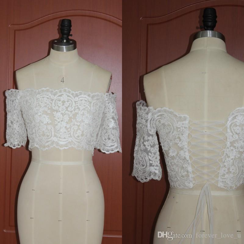 Real Pictures Off the Shoulder Lace Bridal Jackets Short Sleeves Wedding Party Mini Boleros Wraps Shrug Lace-up Back Free Shipping