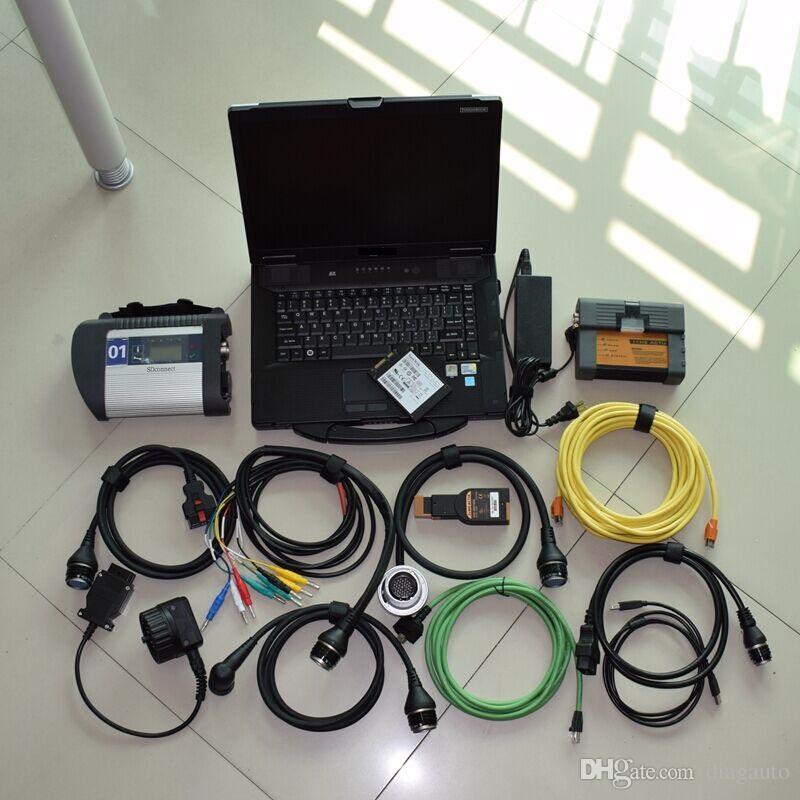 2017 2in1-outil de diagnostic pour MB Star C4 pour BMW Icom A2 B C DiagnosticProgramming outil avec 1TB ordinateur portable cf-52 ssd prêt à travailler