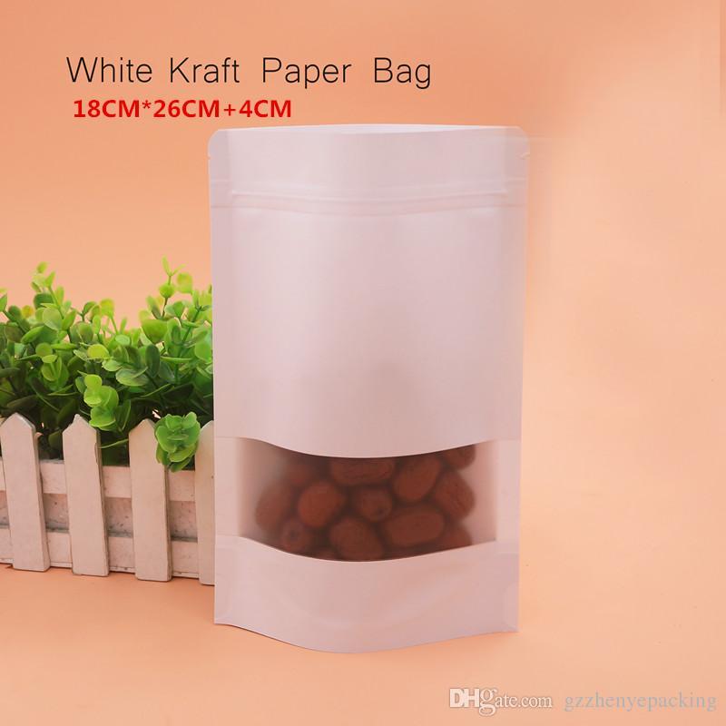 18 * 26 + 4cm 화이트 크래프트 지 선물 가방 셀프 씰링 재사용 가능한 너트 간식 식품 포장 상점 스팟 100 / 패키지