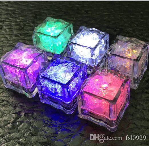 Aoto colors Mini Romantic Luminous ice Cube LED Artificial Ice Cube Flash LED Light Wedding Christmas Decoration Party,free shipping