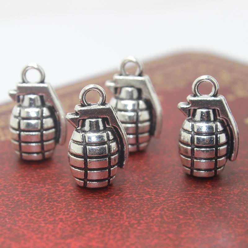 10 pcs / 22 * 8mm de prata antigo chapeado granadas charme pingentes DIY jóias acessórios