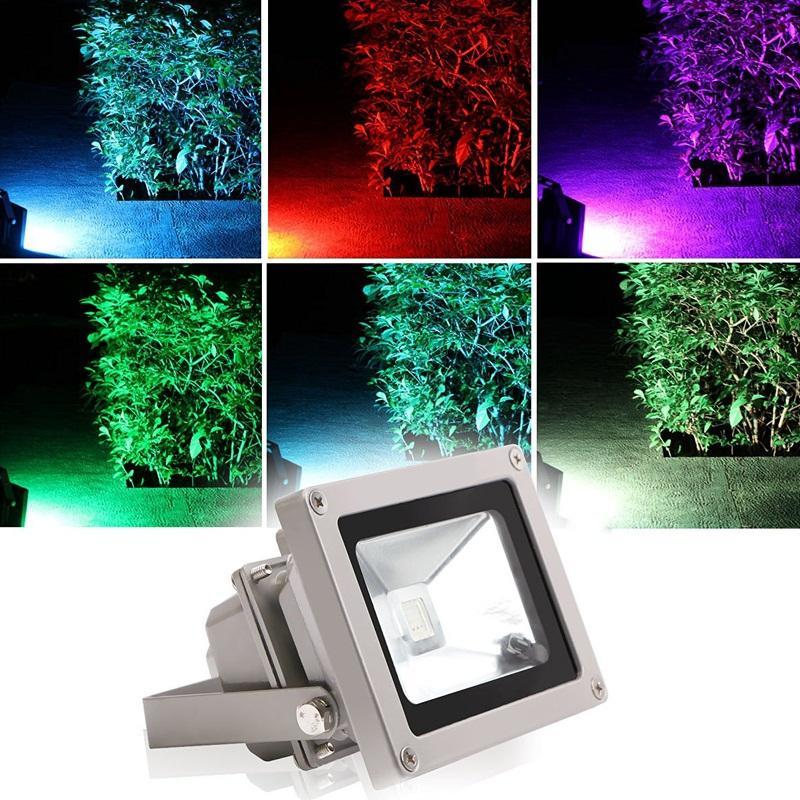 Su geçirmez Işıklandırmalı Peyzaj Lambası RGB LED Sel Işık AC85-265V Renk Değiştirme Duvar Yıkayıcı Lambası + Uzaktan Kumanda 10 W 20 W 30 W 50W10pcs