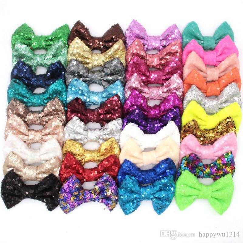38 Colors 4 Inch Sequin Bow DIY Headbands Accessories Baby Boutique Hair Bows without Alligator Clip for Girls