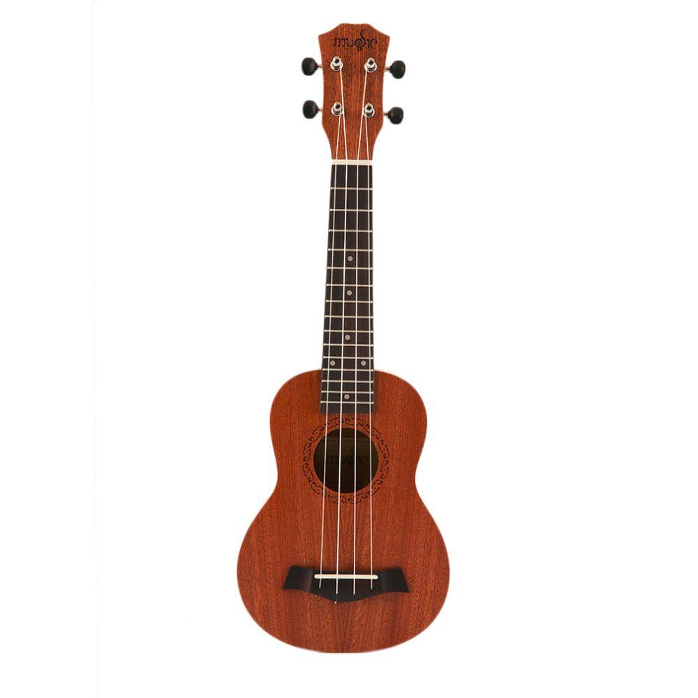 21 Polegada Soprano Ukulele Guitarra Elétrica Acústica 4 Cordas Ukelele Guitarra Madeira Artesanato Guitarrista Branco Mahogany Plug-in Quente