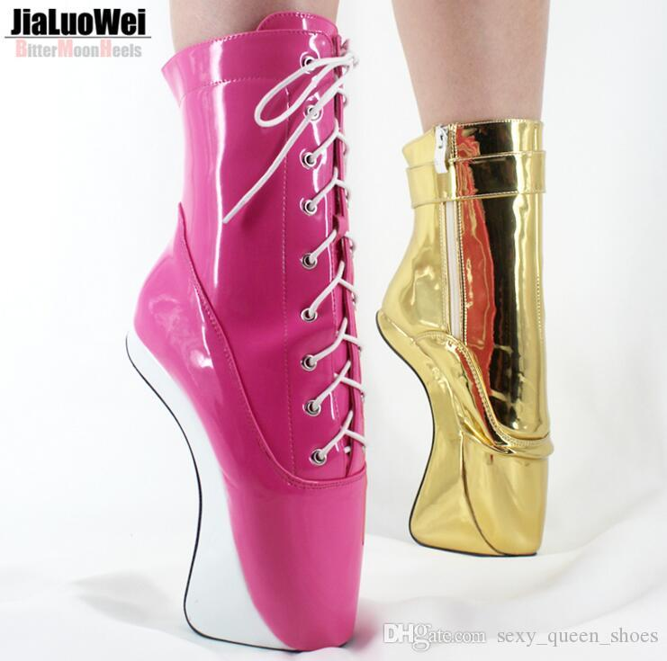 Free Ship 2018 New Women&Man Fashion Ballet Boots 18cm Hoof&Pony Wedges Heelless Fashion Sexy Fetish Shoes Lace-up Zip Ankle Boots Plus size