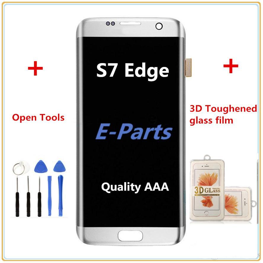 Samsung Galaxy S7 Kenar Için 1 Adet G935 G935F G935A G935FD G935P Lcd Sayısallaştırıcı Displaiy Ekran Meclisi + S7 3D Sertleştirilmiş cam filmi + Araçları