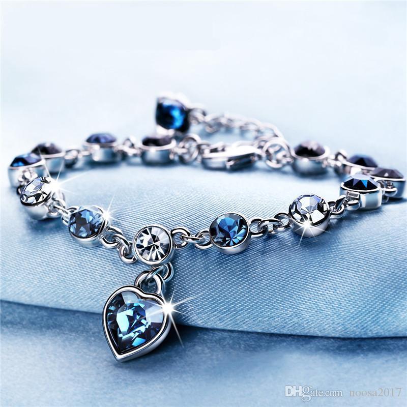 New design Deluxe Austrian crystal full diamond Love pendant bracelet Silver plated birthstone Crystal jewelry Swarovski Elements Bracelet