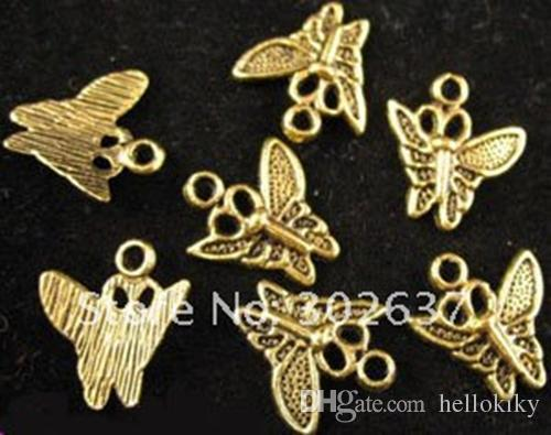 300 stks Antiqued Gold PLT Butterfly Charms A297G