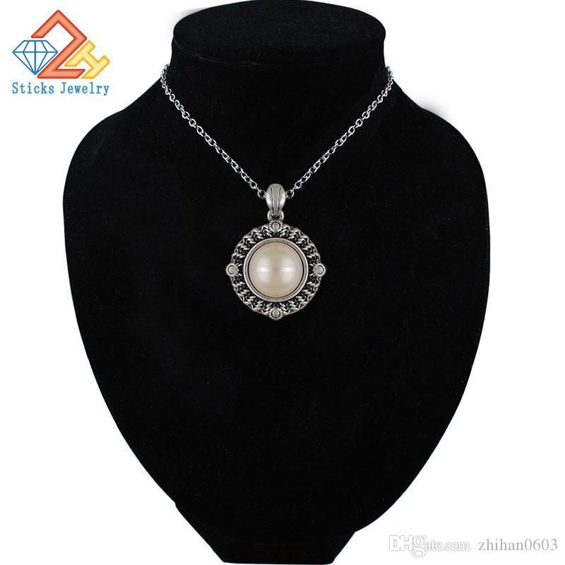 (1 peça / lote) pingente redondo pérolas antiga colar de prata