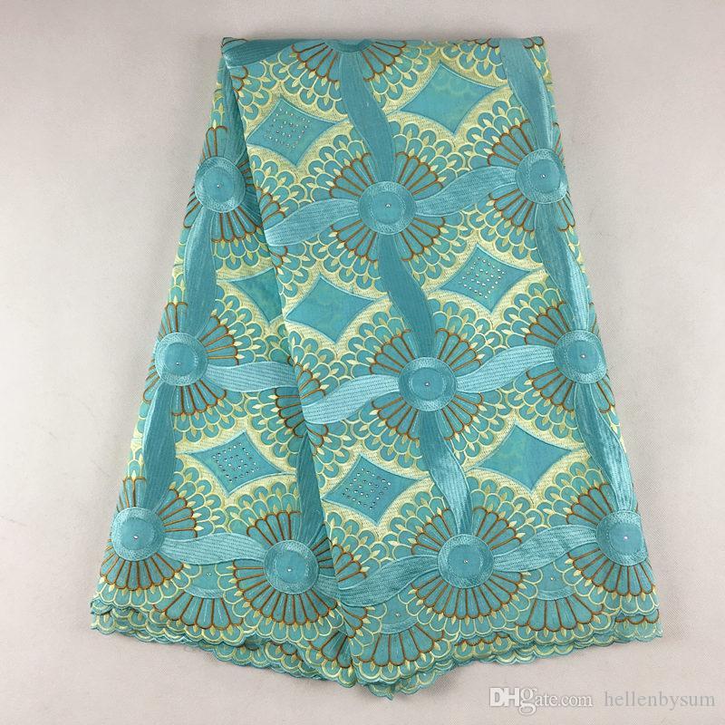 Cordón de voile suizo africano de alta calidad 079, envío gratis (5 yardas / paquete), ropa de encaje de voile de boda africano 100% algodón
