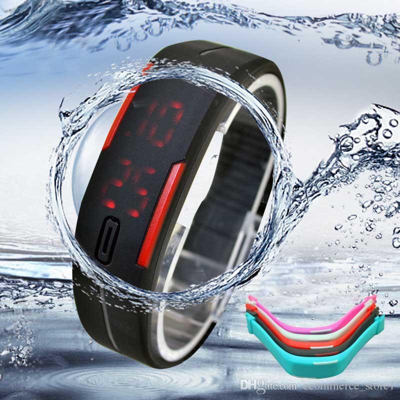 남여 스포츠 시계 실리콘 팔찌 디지털 LED 남자 시계 젤리 방수 팔찌 여자 손목 시계 Relojes Mujer