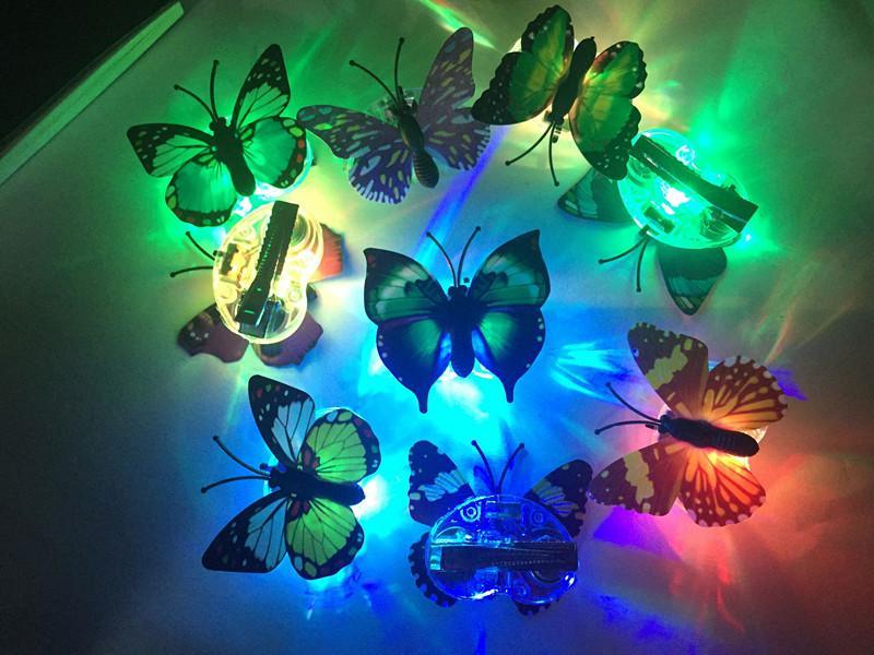 LED 빛나는 나비 머리 핀 반짝 이는 판매 발아 클립 어린이 손질 타이어 도매 공급
