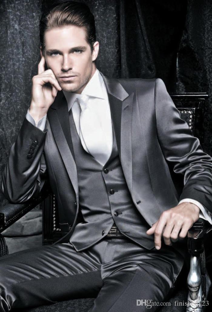 Модный дизайн блестящий атласный жених смокинги женихи пик отворотом блейзер мужские деловые костюмы (куртка+брюки+жилет+галстук) нет: 6703